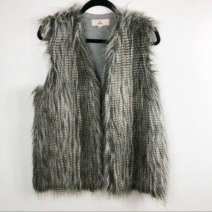 Pink Republic Fuzzy Grey Sweater Back Vest XL